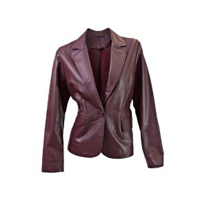 Plum leather jacket front view ghost mannequin edited for E-commerce Advertising Photographer Professional Photographer Midrand Johannesburg South Africa