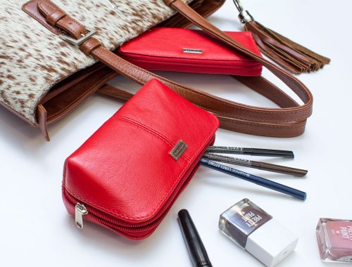 Mintaka leather pouch with cosmetics and handbag Product Photographers Commercial Photographers Midrand Johannesburg South Africa