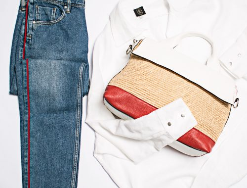 Our Secret blouse with blue jeans and hanbag flat lay Product Photographers Commercial Photographers Midrand Johannesburg South Africa