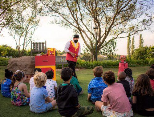Magician entertaining children