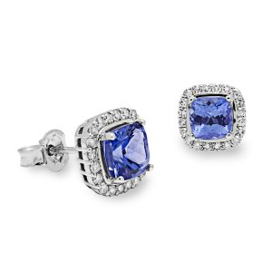 Tanzanite and white gold earrings packshot for E-commerce Product Photographers Commercial Photographers Midrand Johannesburg South Africa Jewellery Photography Services