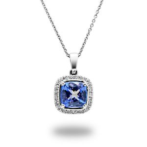 Tanzanite and white gold pendant packshot for E-commerce Advertising Photographer Professional Photographer Midrand Johannesburg South Africa Jewellery Photography Services